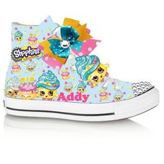 This listing is for a CONVERSE hightop vinyl shopkins inspired shoe with bow and studded toe. This is a digital image of the shoe. Let your child's imagination run wild with this colorful fun shoe. Shopkins Shoes, Shopkins Outfit, Shopkins Clothes, Shopkins All Seasons, Shopkins Birthday Cake, Shoe Cupcakes, Cupcake Queen, Bling Converse, Painted Sneakers