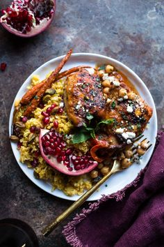 Crockpot Honey Harissa Chicken w/ Chickpeas, Feta and Jeweled Pomegranate Rice, from halfbakedharvest.com