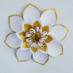 White and gold iridescent flower.  #paperart #eventbackdrop #eventdesign #art #handmade #paperartist - poshpaperdesigns