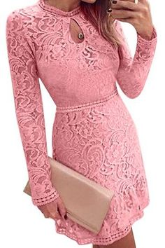 Long Sleeve Hollow Out Dress - US$23.95 -YOINS