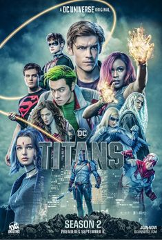Curran Walters (Jason Todd/Robin has shared the new poster for Season 2 of Titans. The new season adds Joshua Orpin as Conner Kent/Superboy, Esai [. Teen Titans Go, Deathstroke, Nightwing, Batwoman, Dc Universe, Comics Mexico, Titans Tv Series, Marvel Dc, Marvel Comics
