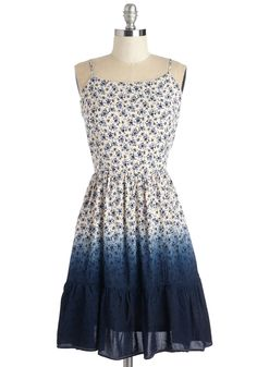 Ombre of Sunshine Dress. Just like the beaming sun, this floral dress always brings out your biggest smile. #blue #modcloth