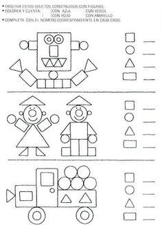 Vormen/figuren fase 6: analyseren van figuren. Vormen Tellen en Kleuren