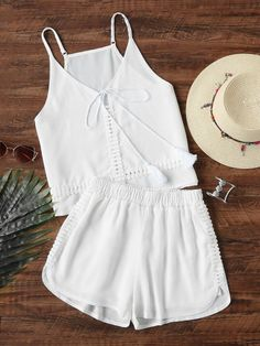 Shop Two-piece Outfits online. SHEIN offers Two-piece Outfits & more to fit your fashionable needs. Cute Sleepwear, Lingerie Sleepwear, Teen Fashion, Korean Fashion, Fashion Outfits, Summer Outfits, Casual Outfits, Cute Outfits, Mode Rockabilly
