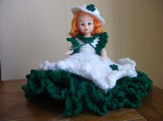 Shamrock Lass Air Freshener Doll Crocheted in Green by PeggysPatch, $17.00