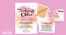 Watercolour Splash ~ Wedding Invitation Suite ~ DIY Template Printable