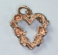 Sterling+Heart+Charm+with+Floral+Accents+Vintage+by+PastSplendors,+$24.00