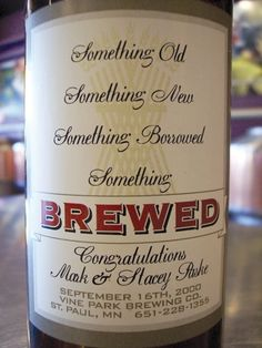 home brewed wedding ale lable