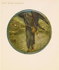 The Flower Book - Most Bitter Moonseed By Sir Edward Burne-Jones 1905 Circular image. A black angel sowing seeds.
