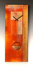 "All-Copper Pendulum Clock by Leonie  Lacouette (Metal & Wood Clock) (24"" x 10"")"