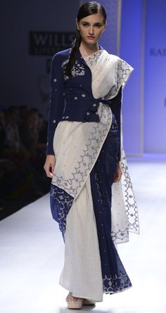 Ivory and blue jamdani sari by RAHUL MISHRA. http://www.perniaspopupshop.com/wills-fashion-week/rahul-mishra #fashionweek #willslifestyleindiafashionweek