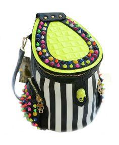 Stripe Print Barrel-type Shoulder Bag with Rivet and Skull Embellishment - Bags & Accessories
