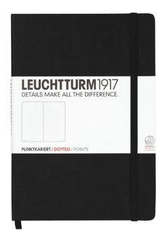 LEUCHTTURM1917 329398 Notizbuch Medium (A5), 249 Seiten, Lineatur: dotted, Farbe: schwarz - weitere Farben und Lineaturen auswählbar
