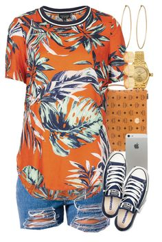 A fashion look from September 2015 featuring orange shirt, denim shorts and navy shoes. Browse and shop related looks. Cute Swag Outfits, Dope Outfits, Casual Outfits, Orange Outfits, Teen Outfits, School Outfits, Topshop Tops, Polyvore Outfits, Polyvore Fashion