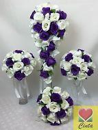 ARTIFICIAL SILK FLOWER PURPLE/WHITE ROSE FLOWERS TEARDROP WEDDING BOUQUET SET