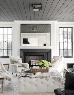 a cozy modern black and white living room | house tour on coco kelley