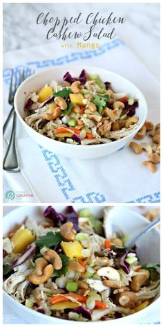 Mango Chicken Salad with Cashews   This healthy Chopped Chicken Salad is great for a summer side dish, BBQs, or potluck ideas. Click the photo for the recipe. TodaysCreativeLife.com
