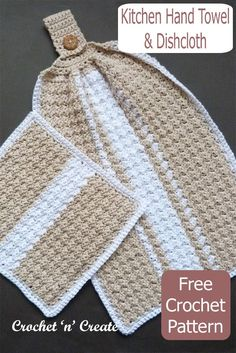 Crochet kitchen hand towel and dishcloth set, free crochet pattern by crochetncreate, crochet for your own kitchen or as gifts. Crochet Dish Towels, Crochet Kitchen Towels, Dishcloth Crochet, Crochet Potholders, Blanket Crochet, Knit Kitchen Towel Pattern, Crochet Blanket Patterns, Crochet Stitches, Crochet Dishcloths Free Patterns