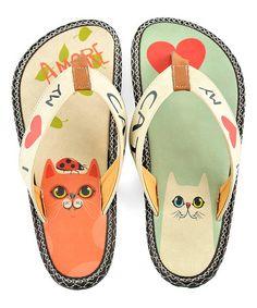 Look at this #zulilyfind! Mint & Coral 'I Love My Cat' Flip-Flop #zulilyfinds