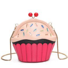 Cupcake Bag of Ice Cream design women messenger bags fashion chain shoulder bag lolita funny Crossbody Bag girls Summer Bao Bao White Shoulder Bags, Chain Shoulder Bag, Leather Shoulder Bag, Shoulder Handbags, Cute Purses, Purses And Bags, Mini Messenger Bag, Chain Crossbody Bag, Satchel Bag