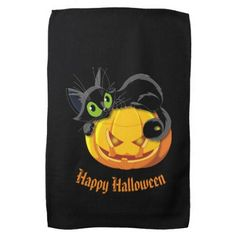 Halloween Kitchen Towel-Black Cat Kitchen Towel - halloween decor diy cyo personalize unique party
