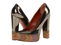 Walk the runway in these retro pumps from Missoni™.  Metallic leather and textile.    http://www.zappos.com/missoni-um014-gold-amber-metallic-fabric