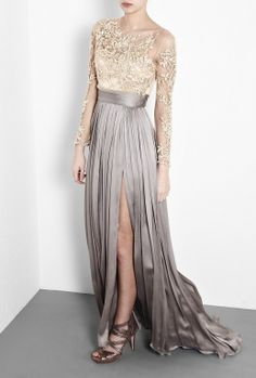 Leigh Split Skirt Maxi Dress by Catherine Deane beautiful cream lace an grey silk gown