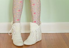 white shoes with floral tights