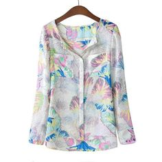 Straight Long Sleeve Colorful Rural printed Chiffon Vintage Blouses FV30