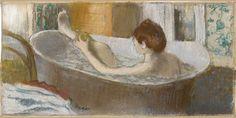 Edgar Degas, Une femme dans une baignoire s'épongeant la jambe, vers 1883, pastel sur monotype, Paris musée d'Orsay