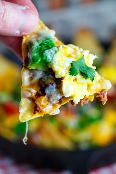 """Chorizo and Egg Breakfast Nachos.  Nachos for breakfast -- I am IN!!! """"Spicy chorizo sausage and scrambled eggs make for a tasty breakfast all by themselves but why not enjoy them nacho style on tortilla chips covered in melted cheese? These breakfast nachos are fully loaded with salsa, beans, tomato, avocado and jalapenos in addition to the sausage and eggs making them a hearty and tasty way to start the day!"""""""