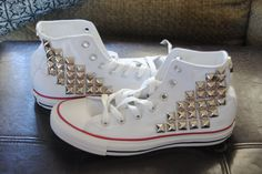 Made to Order Studded High Top Converse. $85.00, via Etsy.
