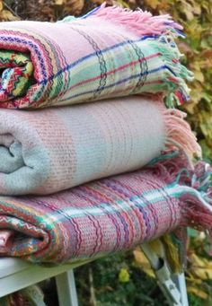 Pastel plaid blankets for spring and summer picnics