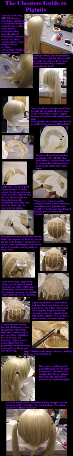 Cheater ponytails for cosplay wigs tutorial
