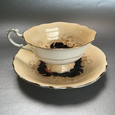 Vintage Paragon Black Floral Bone China Tea Cup and Saucer