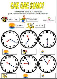 Schede ed attività didattiche del Maestro Fabio per la scuola primaria. Giochiecolori.it: SCHEDE DIDATTICHE DI STORIA: L'OROLOGIO (IMPARIAMO A LEGGERE L'ORA, LE PARTI DELLA GIORNATA, 12 E 24 ORE, CRUCIVERBA, CRUCIPUZZLE, VERIFICHE) CLASSE SECONDA SCUOLA PRIMARIA Italian Language, Learning Italian, Math Concepts, Oras, Middle School, Activities For Kids, Clock, Teacher, Camilla