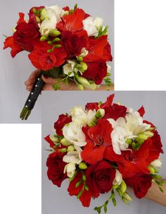posy wedding bouquet with red roses, red glad blossoms, white freesia and white lisianthus. floral@kuhlmanns.com