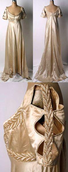 Evening dress, Liberty of London, 1910. Silk with glass beads.