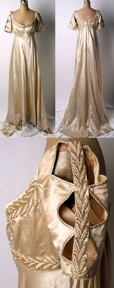 Evening dress, Liberty of London, 1910. Silk with glass beads. THOSE SLEEVES.