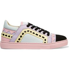 Sophia Webster Riko laser-cut leather and suede sneakers ($360) ❤ liked on Polyvore featuring shoes, sneakers, pink, leather sneakers, multi colored sneakers, multi color sneakers, suede shoes and woven shoes