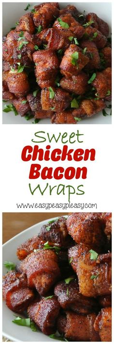 Easy 4 Ingredient Sweet Chicken Bacon Wraps Appetizer Recipe |  Easy Peasy Pleasy - 4 Ingredient Sweet Chicken Bacon Wraps are the perfect appetizer anytime of the year! #horsdoeuvres #appetizers #fingerfoods #tapas #partyfood #christmaspartyfood #newyearsevepartyfood #newyearseve #tailgating #superbowl