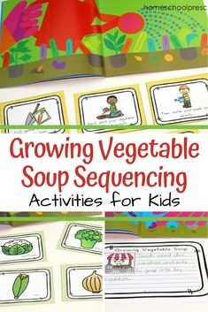 Growing Vegetable Soup story sequence cards are a great way to help students retell this simple story. Includes picture cards, sequencing mat, and more. #growingvegetablesoup #storysequencing #storysequencingcards #homeschoolprek