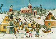 Kalendárium: prosince 1887 – narodil se ilustrátor a malíř Josef Lada The Good Soldier Svejk, Modern Sculpture, Children's Book Illustration, Illustrators, Folk Art, Cool Pictures, Modern Art, Fairy Tales, Drawings