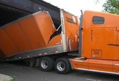 Schneider semi truck low bridge crash in Chicago