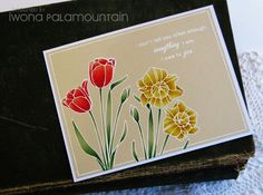 handmade card ... one main layer ... white embossing on kraft ... tulip and dafodil images colored with Copics ... lovely ...