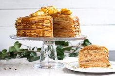 Gâteau de crêpes aux pommes et «caramel» de dattes {sain et léger !} Cooking Chef, Cooking Time, Thermomix Desserts, Sweet Tooth, Cheese, Beignets, Food, Dire, Pancakes