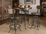 Travis 5-piece adjustable-height dining set. This group has an industrial flair with metal frames and rivets bordering the table and stools. The metal is paired with distressed ash hardwood that's attractively presented in a walnut finish. Our favorite thing about this set is how it can go from counter height to bar height with a twist of the table and stools, providing the perfect setting for any get-together.