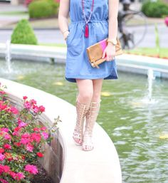 GlamGrace - By Tabby Chambray and Clare V. Clutch. Gladiator sandals.