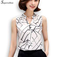 Barato Soperwillton Nova Verão Mulheres Blusa Chiffon Impresso Blusa Sem Mangas Listrado Branco Blusas Camisas Femininas Camisa Escritório # A806, Compro Qualidade Blusas diretamente de fornecedores da China:     este é o tamanho da China, é diferente com o tamanho