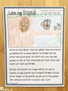 Tegn etter leseforståelse. Utrolig kjekke oppgaver Language, Education, Words, First Grade, Languages, Language Arts, Learning, Horses, Teaching